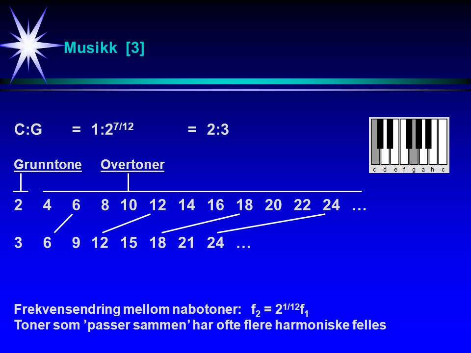 Musikk [3] C:G = 1:27/12 = 2:3. 2 4 6 8 10 12 14 16 18 20 22 24 … 3 6 9 12 15 18 21 24 …